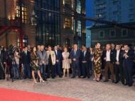 Лейла и Арзу Алиевы на открытии Медиа центра в Баку