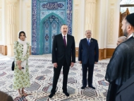 Алиевы на открытии мечети в Баку