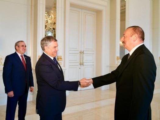 Володин на переговорах с Ильхамом Алиевым