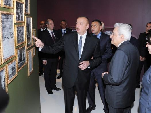 Ильхам Алиев и Серджо Маттарелла на выставке Хатаи