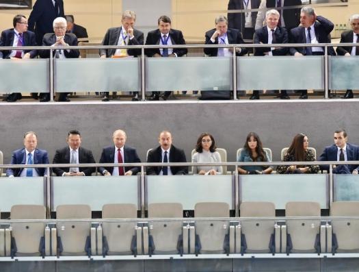 Ильхам Алиев и Владимир Путин на чемпионате мира по дзюдо