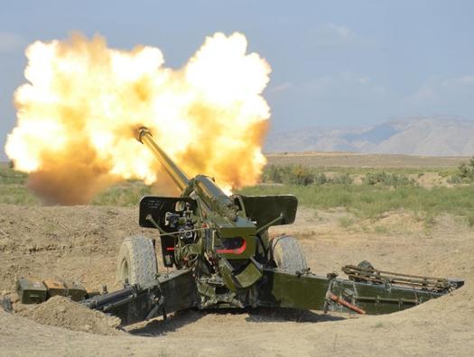 Боевые стрельбы азербайджанской артиллерии