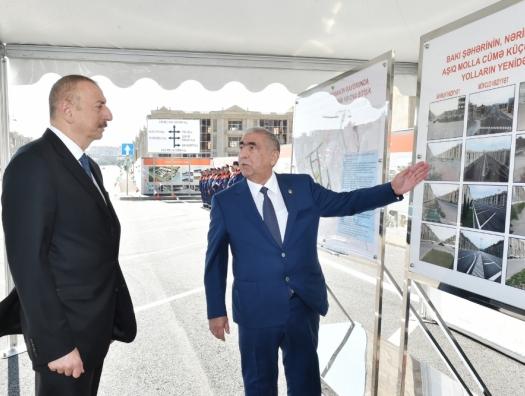 Ильхам Алиев на открытии отремонтированной улицы в Баку