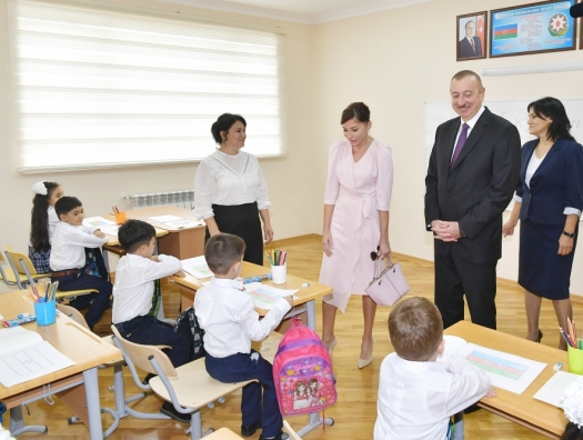 Алиевы на открытии нового учебного комплекса
