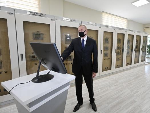 Ильхам Алиев на открытии новой подстанции в Баку
