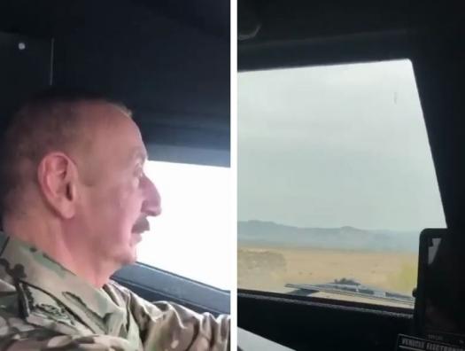 Ильхам Алиев за рулем бронемашины на освобождённых территориях