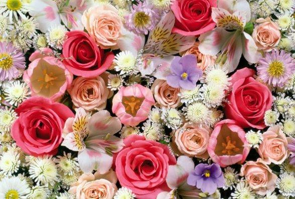 Открытка с днем рождения много цветов 50